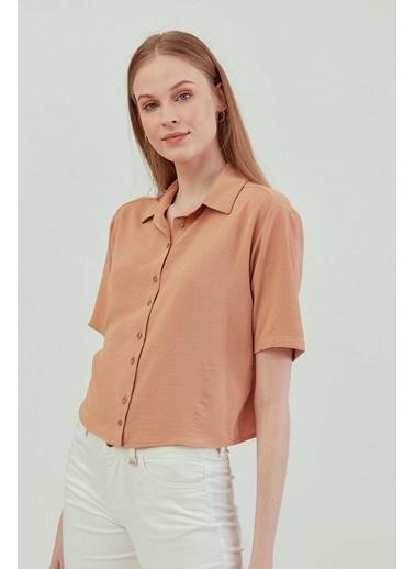 Vitrin VİTRİN Yakalı Kısa Kol Crop Gömlek Camel
